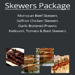 skewers finger food blackboard packages